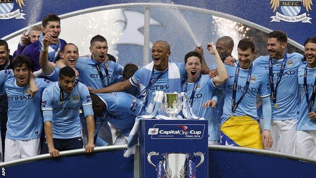 Manchester City's players celebrate