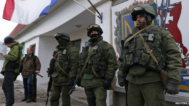 Military personnel, believed to be Russian servicemen, in Simferopol 03/02/14