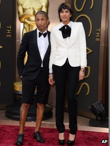 Pharrell Williams, left, and Helen Lasichanh