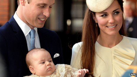Duke and Duchess of Cambridge with Prince George ahead of his christening on 23 October 2013