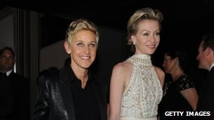 Ellen Degeneres and her wife, actress Portia DeRossi, arrive at the Vanity Fair party