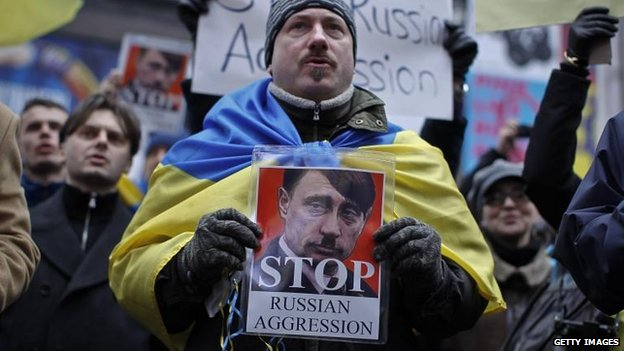 Protesters in New York demonstrate against the Russian action in Crimea, 2 Mar