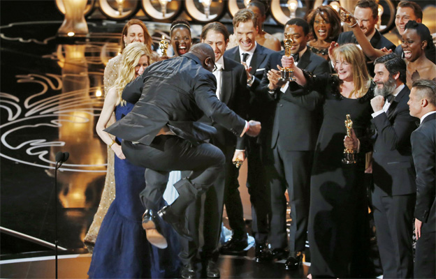 12 Years a Slave team on stage at the Oscars