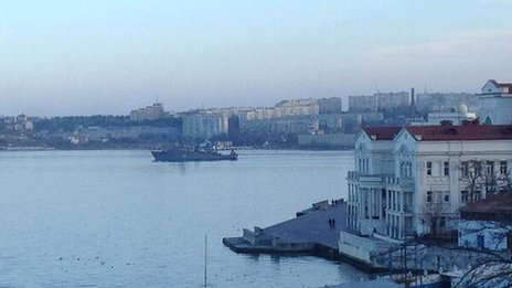 Minesweeper Turbinist from Black Sea Fleet in Sevastopol harbour this morning