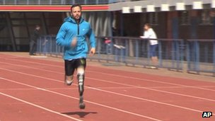 Mr Pistorius training after the death of his girlfriend
