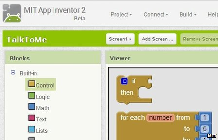 Screenshot from MIT App Inventor