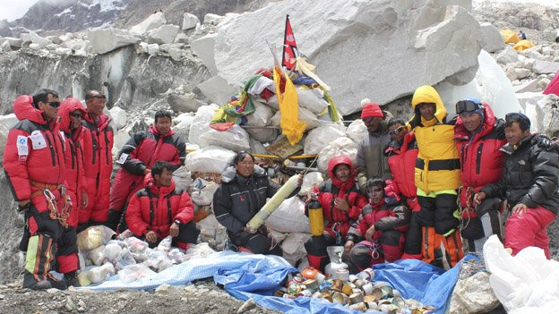 Group of Sherpas who went to clean up Everest in 2010