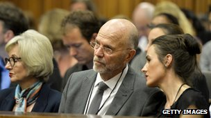 Lois, Arnold and Aimee Pistorius at the Pretoria High Court on the opening day of the trial