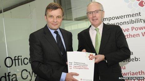 Welsh Secretary David Jones (L) and Paul Silk