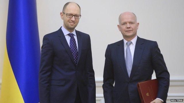 Ukrainian Prime Minister Yatseniuk and British Foreign Secretary Hague