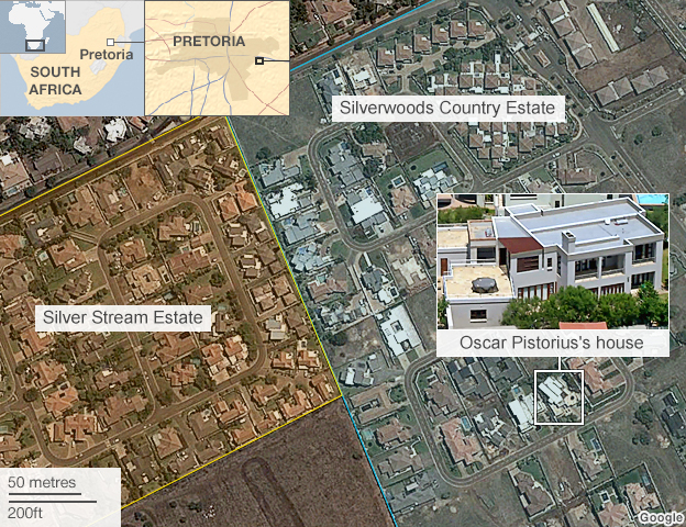 Map showing Silver Stream Estate next to Silverwoods Country Estate, where Mr Pistorius lives