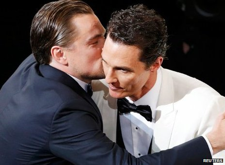 Leonardo DiCaprio with Matthew McConaughey.