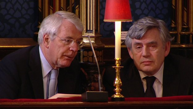 Former prime ministers John Major and Gordon Brown