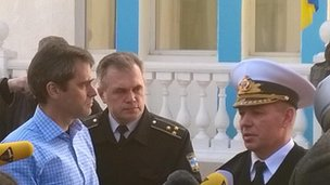Rear Admiral Sergei Gaiduk  with the BBC's Daniel Sandford