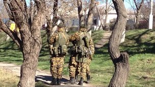 Image of Russian troops in Bakhchiserai