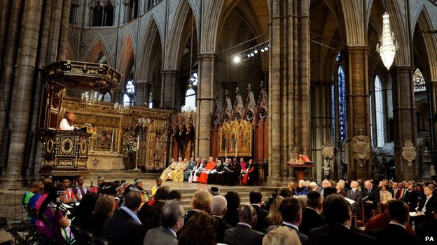 The Most Rev Tutu, the former Archbishop of Cape Town, addresses the congregation at Westminster Abbey