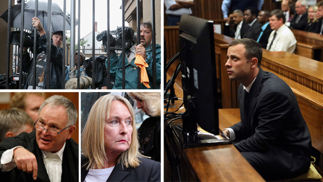 Clockwise from top left, media outside Pretoria high court, Oscar Pistorius in court, Reeva Steenkamp's mother, defence lawyer Barry Roux