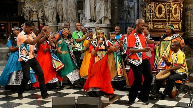 The Soweto Gospel Choir perform in Westminster Abbey