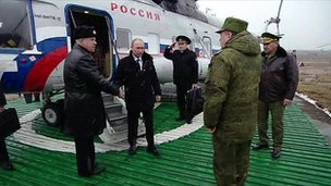Russian president Vladimir Putin has arrived at Kirillovsky air ground to watch the final stage of military exercises of Western and Central Army district.