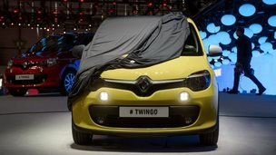 New Renault Twingo partially covered at Geneva Motor Show