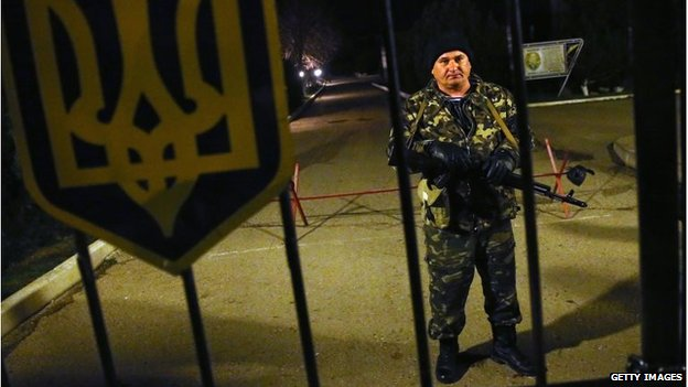 A Ukrainian soldier at the Belbek military base in Lubimovka on March 3, 2014