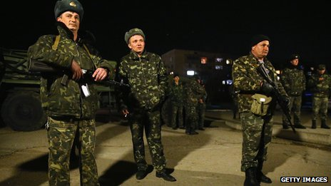 Ukrainian soldiers at the Belbek military base stand on alert anticipating a possible Russian attack on March 3, 2014 in Lubimovka, Ukraine