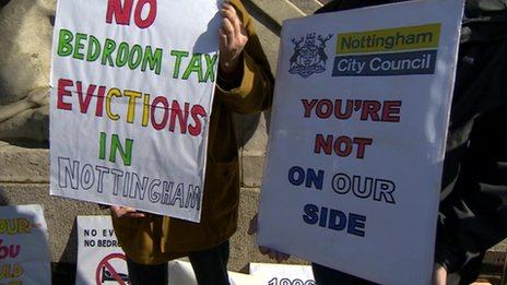 Protestors in Nottingham