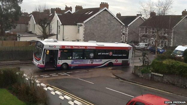 Bus in road
