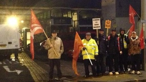 Bus depot picket line