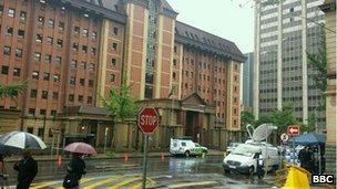 Rain outside court