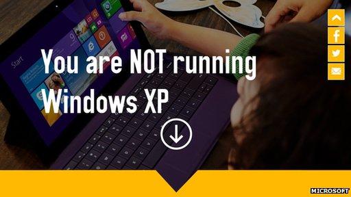 Screengrab of XP splash page