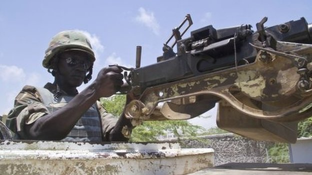 A Ugandan soldier in Afgoye, Somalia, on 1 March 2014