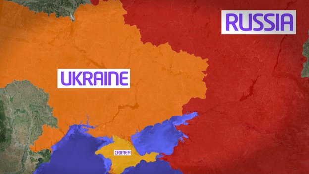 Map showing Ukraine, Russia and Crimea