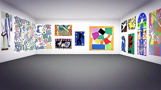 Henri Matisse: Cut-Outs in a virtual exhibition room