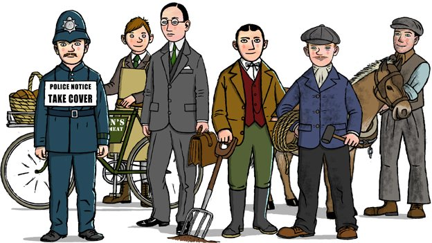 Policeman, delivery boy, businessman, farmer, shipbuilder and miner with pit pony
