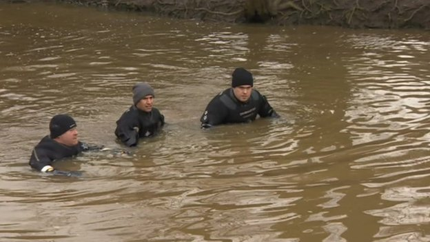 Three officers in river