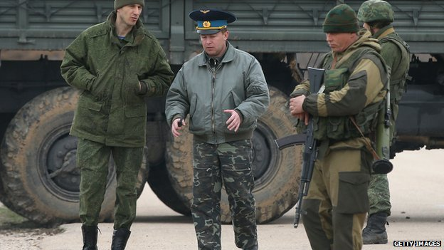 Ukrainian officer with troops under Russian command, Belbek, Crimea, 4 Mar 14