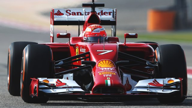 Kimi Raikkonen driving the 2014 Ferrari car