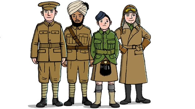 Illustration of an Infantry soldier, Artillery soldier, Boy soldier from the London Scottish Regiment and a Pilot