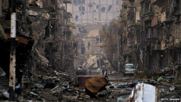 Destroyed neighbourhood in Syria