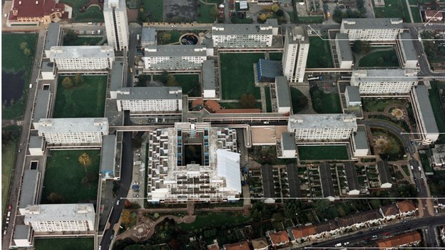 Aerial view of the Broadwater Farm Estate
