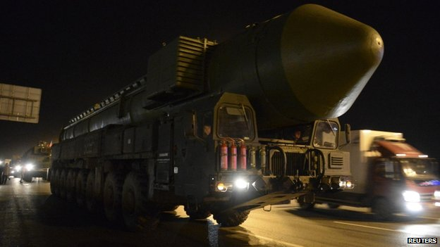A Topol missile in transit outside Moscow, 28 February
