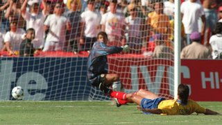 Andres Escobar scores an own goal against the USA