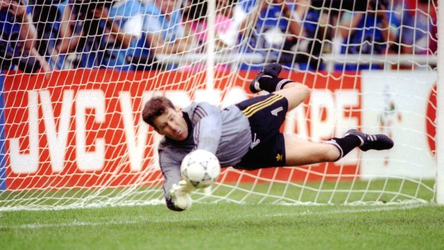 Pat Bonner saves in the penalty shoot-out for Republic of Ireland against Romania