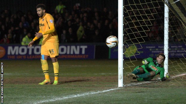 Newport's Rene Howe turns away after missing a clear chance in front of goal