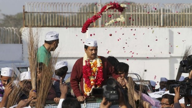 Arvind Kejriwal in Gujarat state ahead of the country's national elections, in Ahmedabad, India, Wednesday, March 5, 2014.