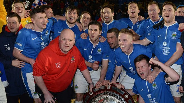 Linfield celebrate winning the County Antrim Shield final