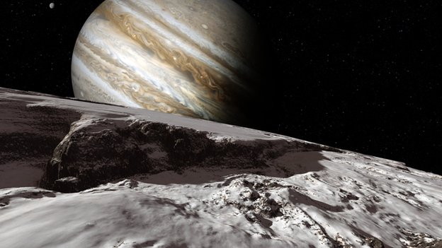 View of Jupiter from Europa moon (artwork)