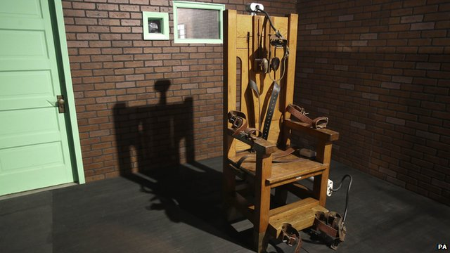 An electric chair on exhibit at the Texas Prison Museum