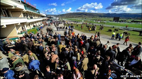 Race-goers enjoy a drink at the 2013 Cheltenham Festival